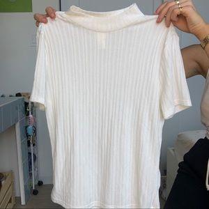 White mock neck t shirt